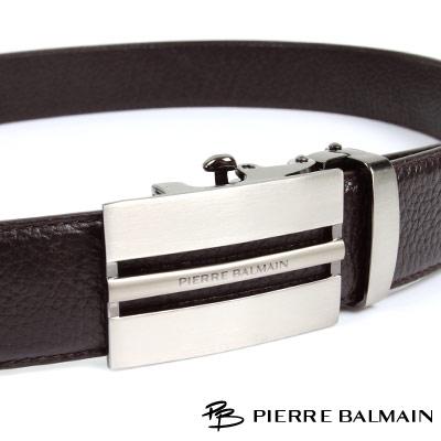 PB 皮爾帕門-經典方框簍空全霧咖啡Logo款-頭層牛皮自動扣皮帶-701