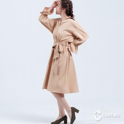 CANTWO襯衫領荷葉袖綁帶洋裝(共二色)