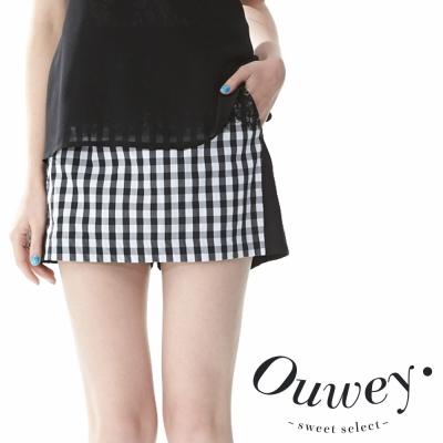 OUWEY歐薇-經典黑白格紋百搭褲裙