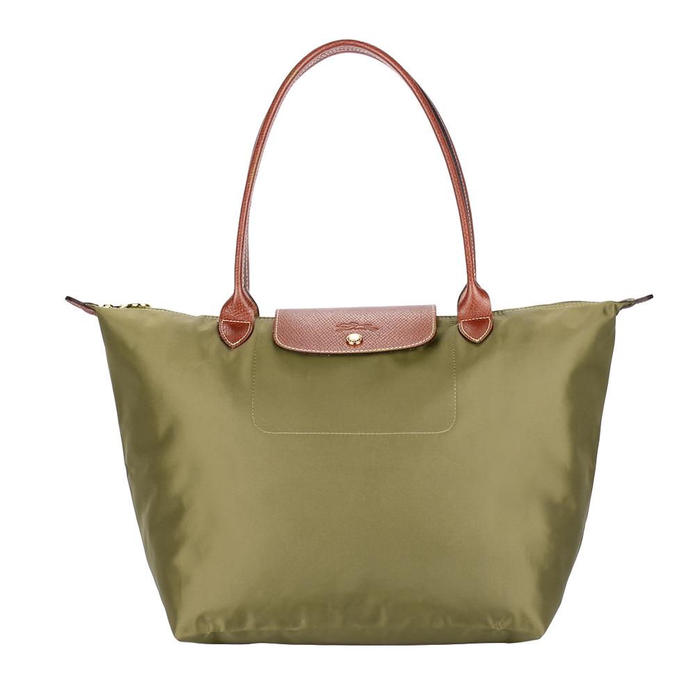 Longchamp 折疊大型長提把水餃包-卡其綠色