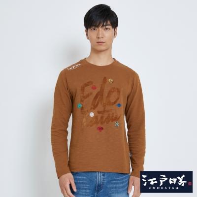 EDWIN EDOKATSU江戶勝草寫家徽長袖T恤-男-黃褐