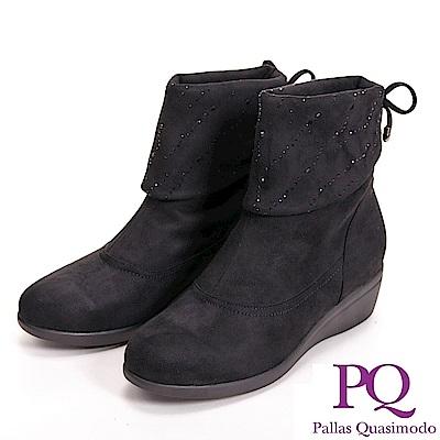 PQ 絨毛質感 亮鑽反折低筒女靴-黑(另有咖)
