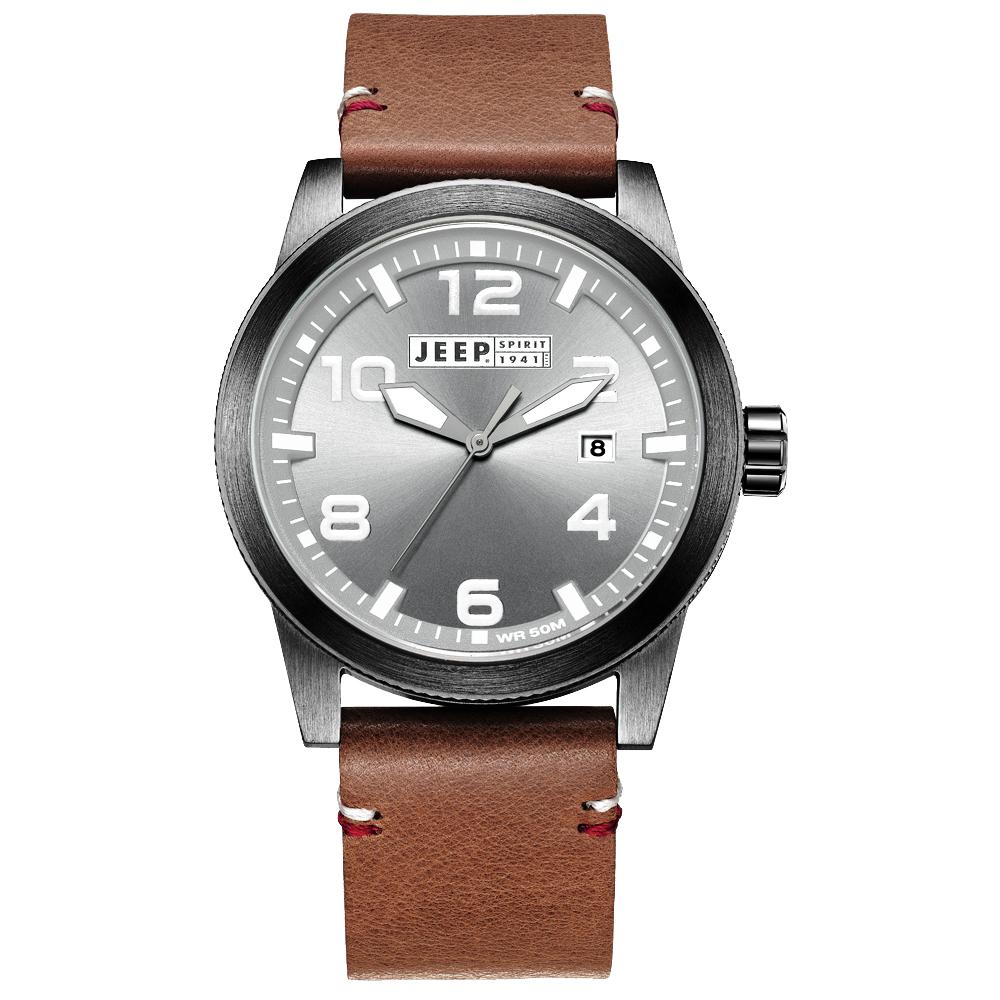 Jeep Spirit 自然率性休閒皮帶錶-黑框灰x咖啡色/46mm
