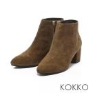 KOKKO-時髦尖頭羊麂皮側拉鍊粗跟短靴-咖啡