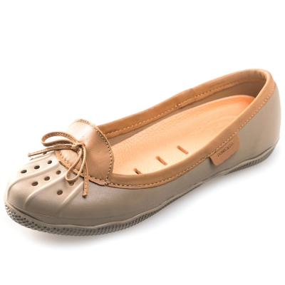 (女)Ponic&Co美國加州環保防水真皮滾邊娃娃鞋-卡其色
