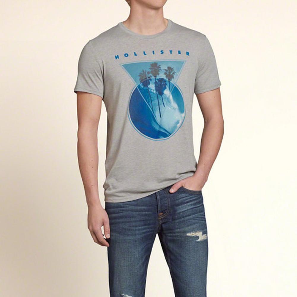 HOLLISTER Co. 男裝 夏威夷衝浪短T恤(灰)-薄款