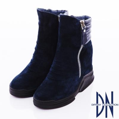 DN 個性魅力 經典羊皮厚底中筒靴 藍