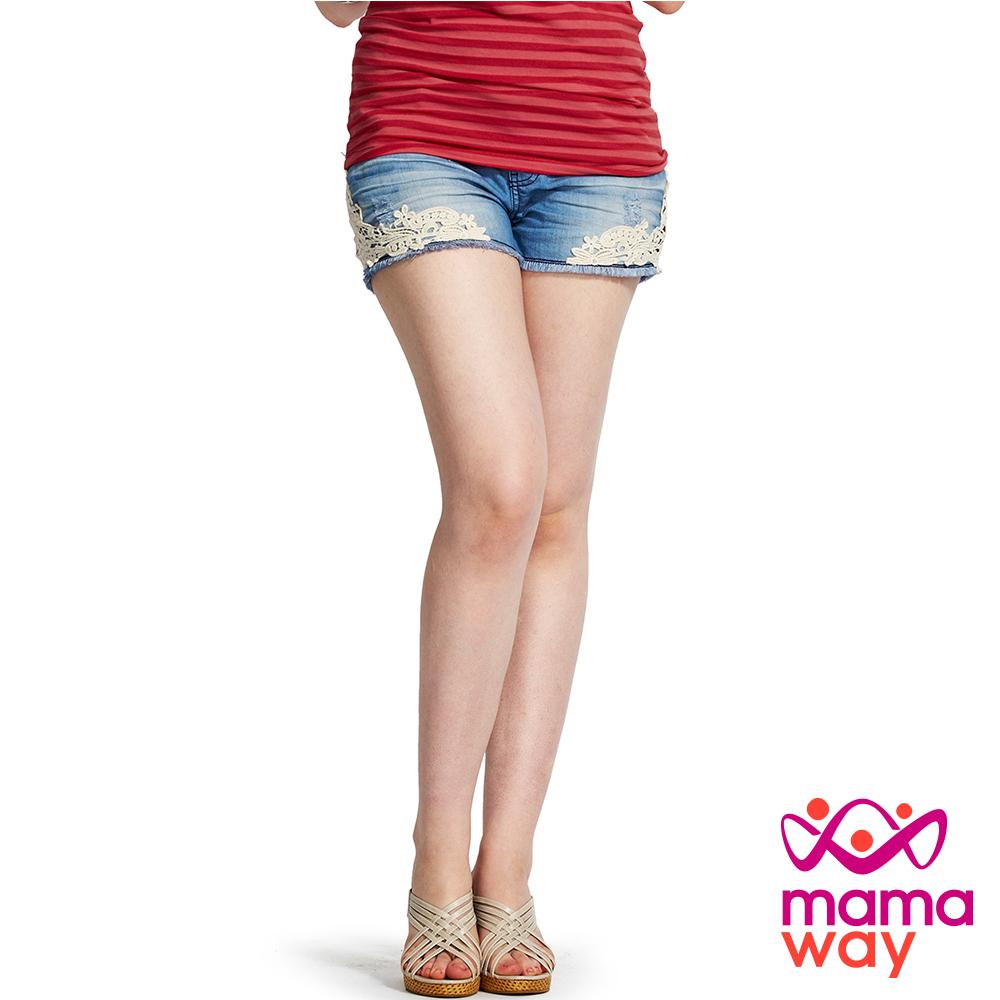 Mamaway 孕期蕾絲牛仔短褲