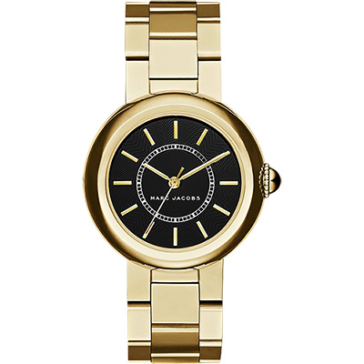 Marc Jacobs courtney 名模時尚腕錶-黑x金/34mm