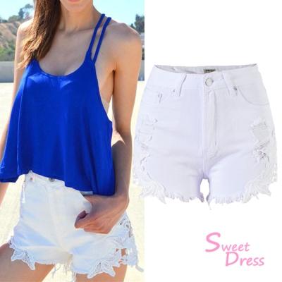 蕾絲破洞高腰牛仔短褲-白-Sweet-Dress