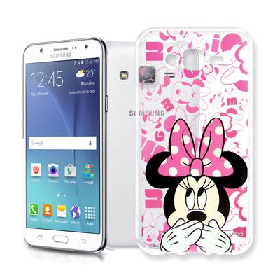迪士尼 Samsung Galaxy J7 大頭透明手機軟殼(摀嘴米妮)