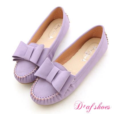 D+AF 俏皮甜心‧MIT大蝴蝶結莫卡辛豆豆鞋*薰衣紫