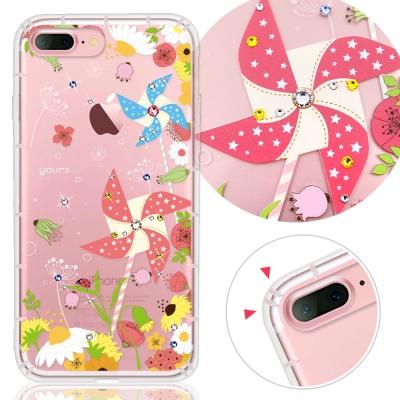 YOURS APPLE iPhone7 Plus 奧地利水晶彩繪防摔氣墊手機鑽殼-紙風車
