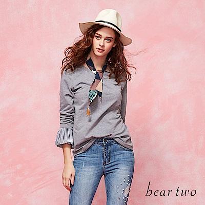 beartwo 簡約休閒拼接質紋袖身造型上衣(二色)