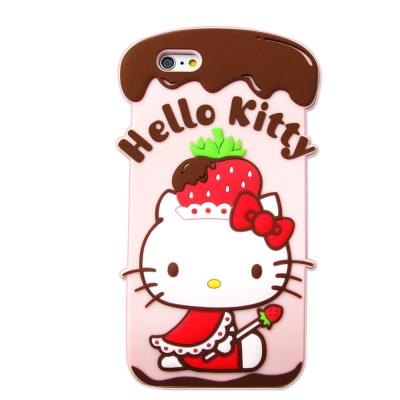 Hello Kitty iPhone 6/6s i6s 4.7吋立體軟式手機殼(草莓帽)