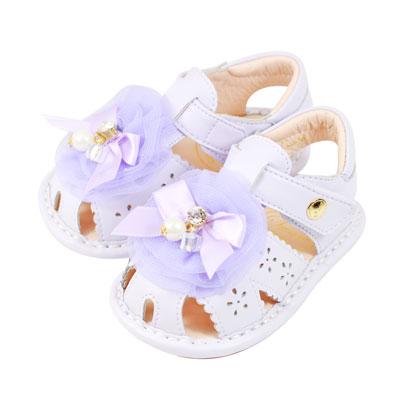 Swan天鵝童鞋-馬卡龍蝴蝶結玫瑰花朵寶寶涼鞋 1539 -紫