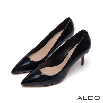 ALDO-小資女孩首選原色亮面尖頭細高跟鞋-尊爵黑色