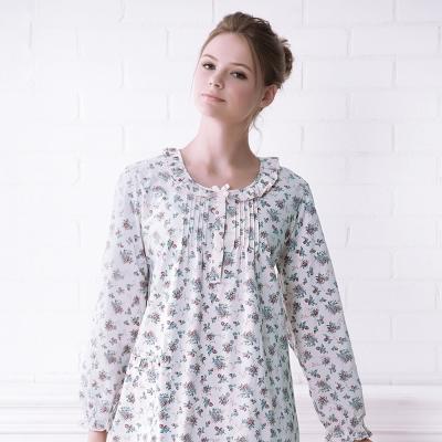 羅絲美睡衣 - 青春旋律長袖洋裝睡衣(灰藍色)
