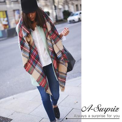 A-Surpriz-拼色格紋毛邊仿羊絨加寬圍巾