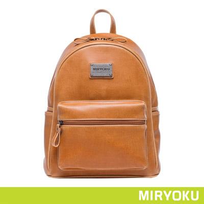 MIRYOKU經典復古皮革系列-青春活力圓弧後背包