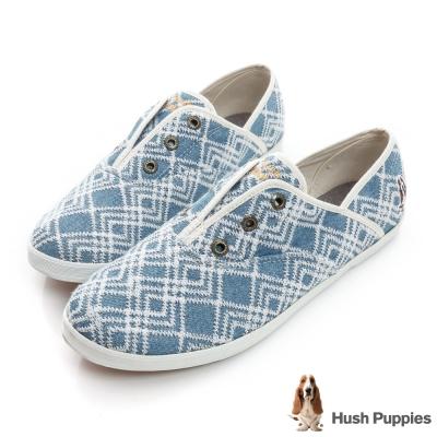 Hush Puppies 幾何單寧咖啡紗懶人帆布鞋-淺藍