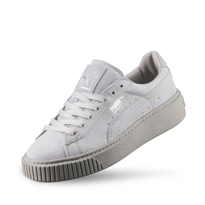 PUMA BasketPlatformReset女性復古休閒鞋-淺灰
