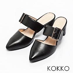 KOKKO -復古女伶金屬扣粗跟穆勒鞋-氣質黑