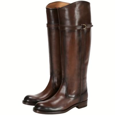 GUCCI 經典馬銜釦帶渲染設計長靴(咖啡色)