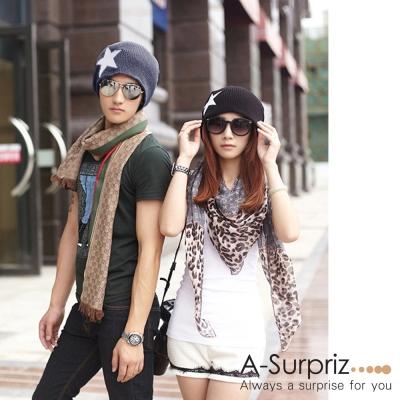 A-Surpriz 運動休閒星星針織帽(酷黑)