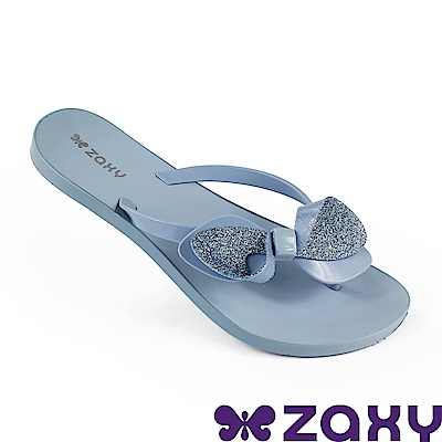 Zaxy 巴西 女 清新蝴蝶夾腳拖鞋-天空藍/金蔥藍