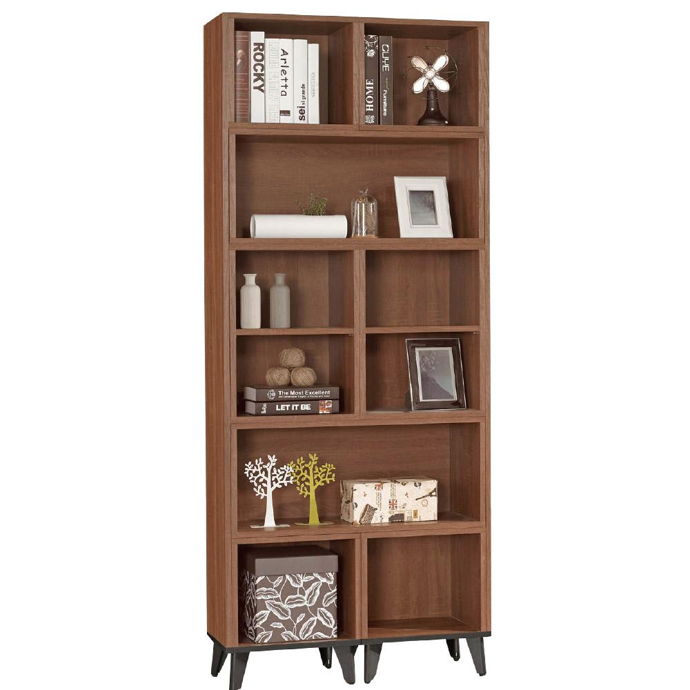 品家居 西恩2.7尺胡桃木紋伸縮書櫃-80.5x30.3x192.5cm免組