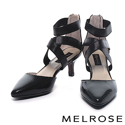 高跟鞋 MELROSE 奢華蛇紋牛皮尖頭交叉繫帶高跟鞋-黑