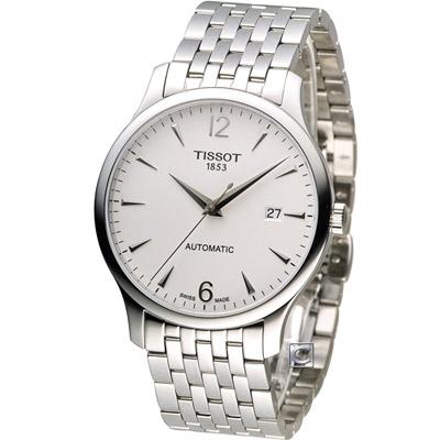 TISSOT T-TRADITION 極簡雅士時尚機械腕錶-銀/40mm