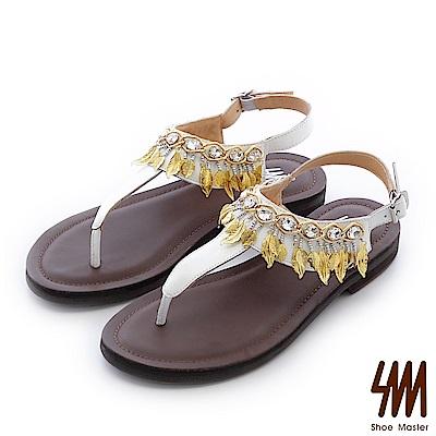 SM-晶鑽羅馬-水鑽月桂葉女神夾腳平底涼鞋-白色