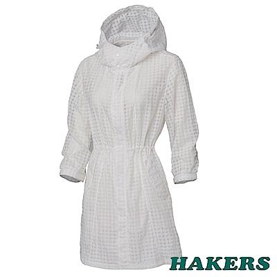 HAKERS女-抗UV防潑格紋長版外套-白色
