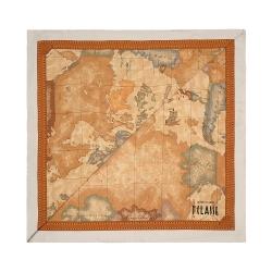 Alviero Martini 義大利地圖 經典地圖邊框配色方巾-杏(90X90)