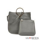 La Moda 設計感多種揹法軟皮大容量子母包(灰)