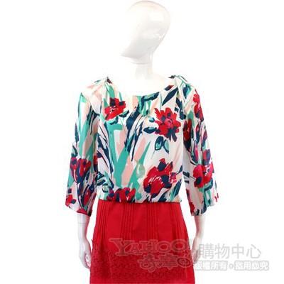 KENZO 花朵彩繪印花絲緞上衣