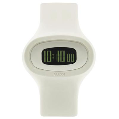 ALESSI 清晰潮流電子腕錶-白/43mm