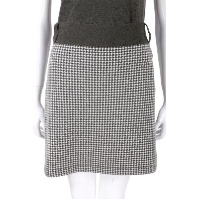 ALLUDE 灰綠色千鳥紋羊毛及膝裙(70%LANA)