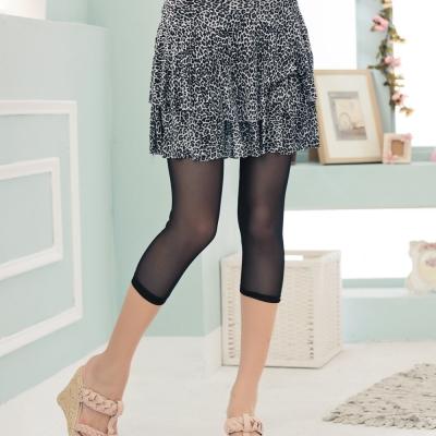 La Belleza豹紋蛋糕裙拼接裸膚透紗七分內搭褲