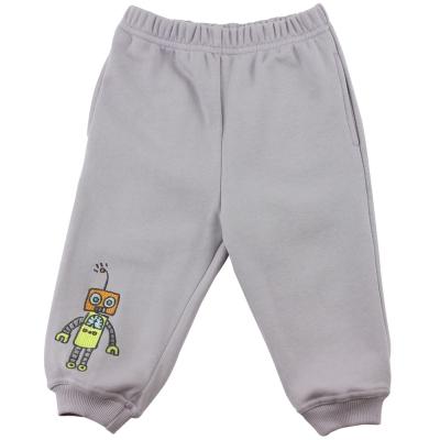 愛的世界 純棉機器人鬆緊帶束口長褲-灰/6~10歲