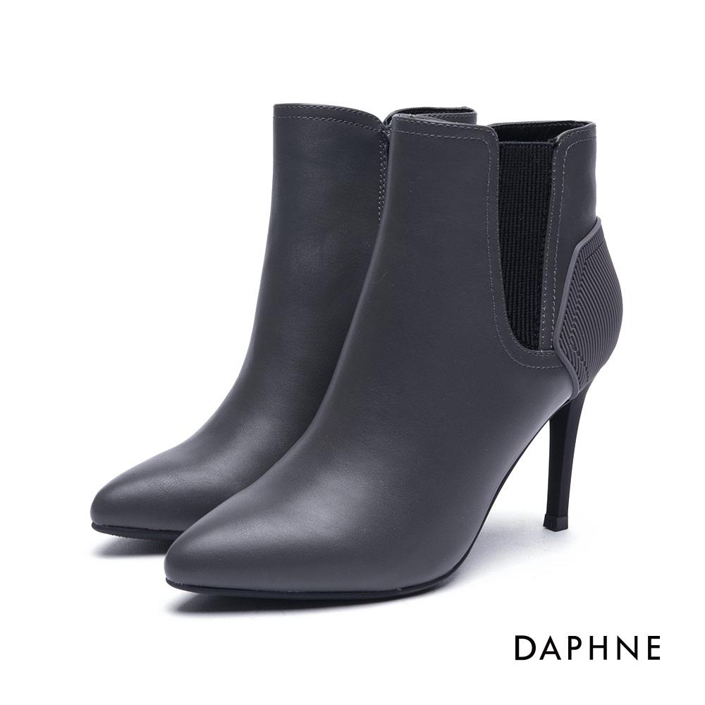 達芙妮DAPHNE 短靴-拼接造型刻紋細高跟踝靴-灰