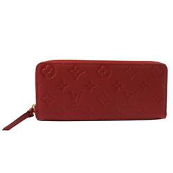 LV M60169 Cl?mence 經典花紋全皮革壓紋拉鍊長夾.紅