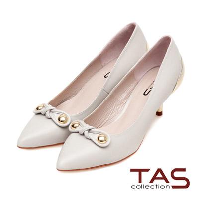 TAS-金屬圓釦扭結素面尖頭金屬後跟高跟鞋-氣質灰