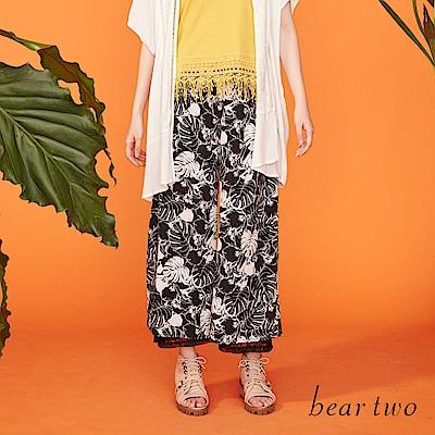 beartwo 蕾絲內襯花漾長版寬褲(黑色)