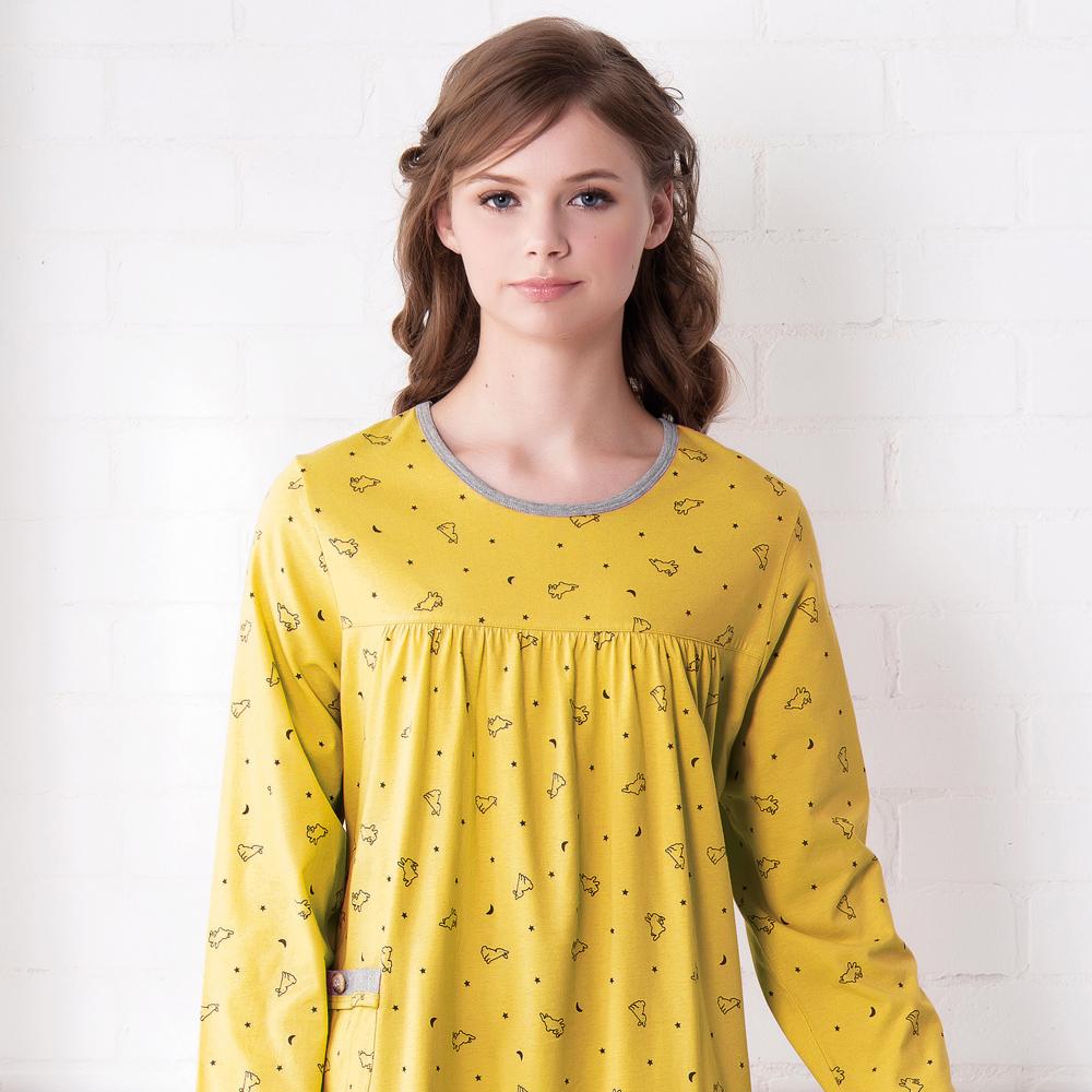 羅絲美睡衣 - 童話人生長袖洋裝睡衣(俏麗黃)