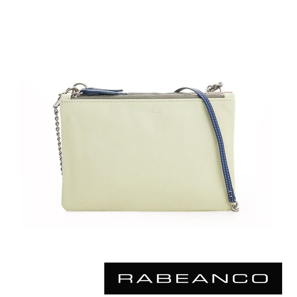 RABEANCO 三撞色鍊帶拉鍊牛皮小包 淺黃X粉X藍