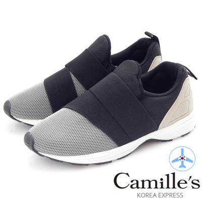 Camille's 韓國空運-正韓製-網布鬆緊繃帶造型運動休閒鞋-灰色