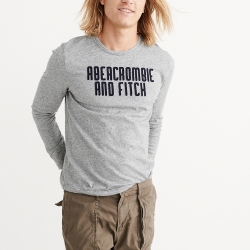 A&F 經典刺繡文字長袖T恤-灰色 AF Abercrombie